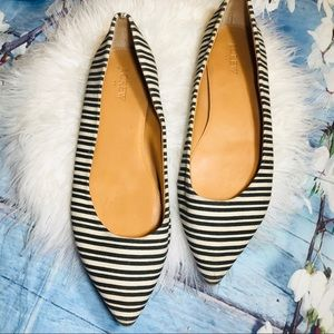 J. Crew canvas pointy flats sz10